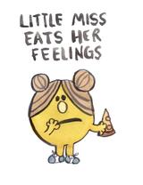 Little Miss Eats Her Feelings, Blank Greeting Card