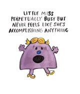 Little Miss Perpetually Busy, Blank Greeting Card