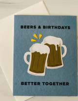 """Beers & Birthdays,"" Blank Birthday Card"