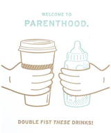 Double Fisted Parenthood, Blank Greeting Card