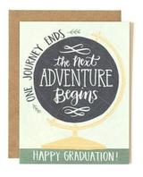 """Advenure Begins"" Globe Graduation, Blank Greeting Card"