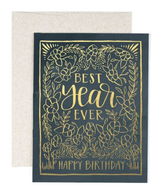 """Best Year Ever"" HBD, Blank Greeting Card"