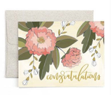 "Peonies ""Congratulations,"" Blank Greeting Card"