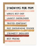 """""""Synonyms for Mom,"""" Blank Greeting Card"""