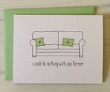 Do Nothing Forever Couch, Blank Greeting Card