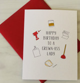 """HBD to a Grown Ass Lady,"" Blank Greeting Card"