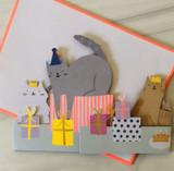 Cat Concertina, Blank Greeting Card