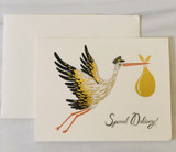 """Special Delivery"" Stork, Rifle Paper Co. Blank Greeting Card"