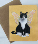 Fairy Winged Cat, Blank Greeting Card