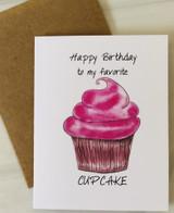"""HBD to my Favorite Cupcake,"" Blank Greeting Card"