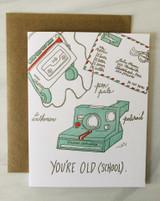 """Old (School),"" Blank Greeting Card"