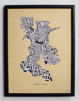 Neighborhoods of Sacramento, 1st Edition,  Art Print, UNFRAMED