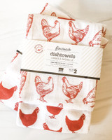 Red Hens Floursack Dishtowels, set/2