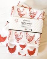 Red Hens Floursack Dishtowels, set/2