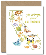 """Greetings from CALIFORNIA,"" Blank Greeting Card"