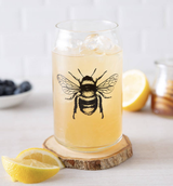Honey Bee Glass Can, 16oz