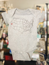 California Love Baby One Piece, Light Grey--CHOOSE SIZE