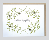"""With Sympathy"" Olive Branch, Blank Greeting Card"