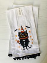 Witch or Black Cat Halloween Tea Towel--CHOOSE