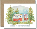 """To New Adventures"" Trailer, Blank Greeting Card"