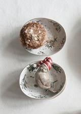 Holiday Oblong  Stoneware Dish w Gold