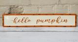 """Hello Pumpkin"" Distressed Metal Wall Sign"