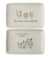 """Chicken Stoneware Platter, 12-1/2"""" x 8-1/4"""""""