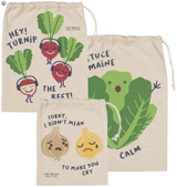 Funny Food Reuseable Cotton Produce Bags, set/3