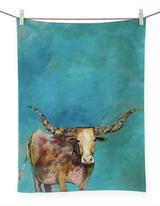 Standing Longhorn Tea Towel