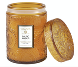 Voluspa Baltic Amber, Embossed Glass Jar with Lid