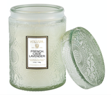 Voluspa French Cade & Lavender, Embossed Glass Jar with Lid