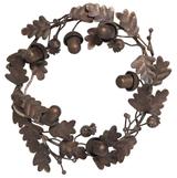 Metal Wreath: Leaves & Acorns, Bronze Finish