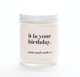 """It Is Your Birthday,"" Coconut Vanilla Soy Wax Candle, 10oz"