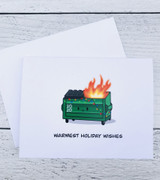 """Warmest Holiday Wishes,"" Dumpster Blank Greeting Card"