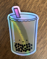 "Happy Boba Holographic Sticker, 3""x2"""