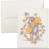 Poppy & California Bear Hug Letter Press Blank Greeting Card
