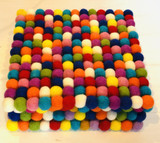 Felt Pom Pom Square Trivet, Multicolored