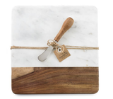 Marble & Wood Board Set with Spreader
