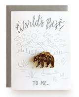 Mama Bear, Blank Greeting Card with Enamel Pin