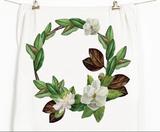Magnolia Wreath Honey Brush Design Tea Towel