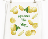 """Squeeze the Day,"" Honey Brush Design Tea Towel"