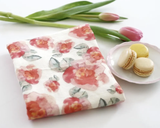 Pink Flowers Honey Brush Design Tea Towel