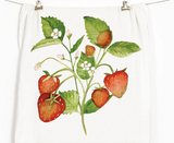 Strawberries Honey Brush Design Tea Towel