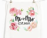 """Mr & Mrs Est. 2021"" Honey Brush Design Tea Towel"