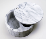 White Marble Swivel Top Salt Box