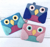 Felt Owl Zippered Pouch--CHOOSE COLOR