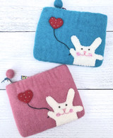 Felt Bunny Zippered Pouch--CHOOSE COLOR