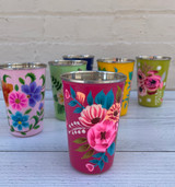 Handpainted Floral Tumbler, Stainless Steel--CHOOSE COLOR