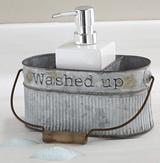 Galvanized Tin Soap Pump Caddy Set
