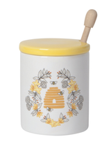 Ceramic Bees Honey Pot with Dipper